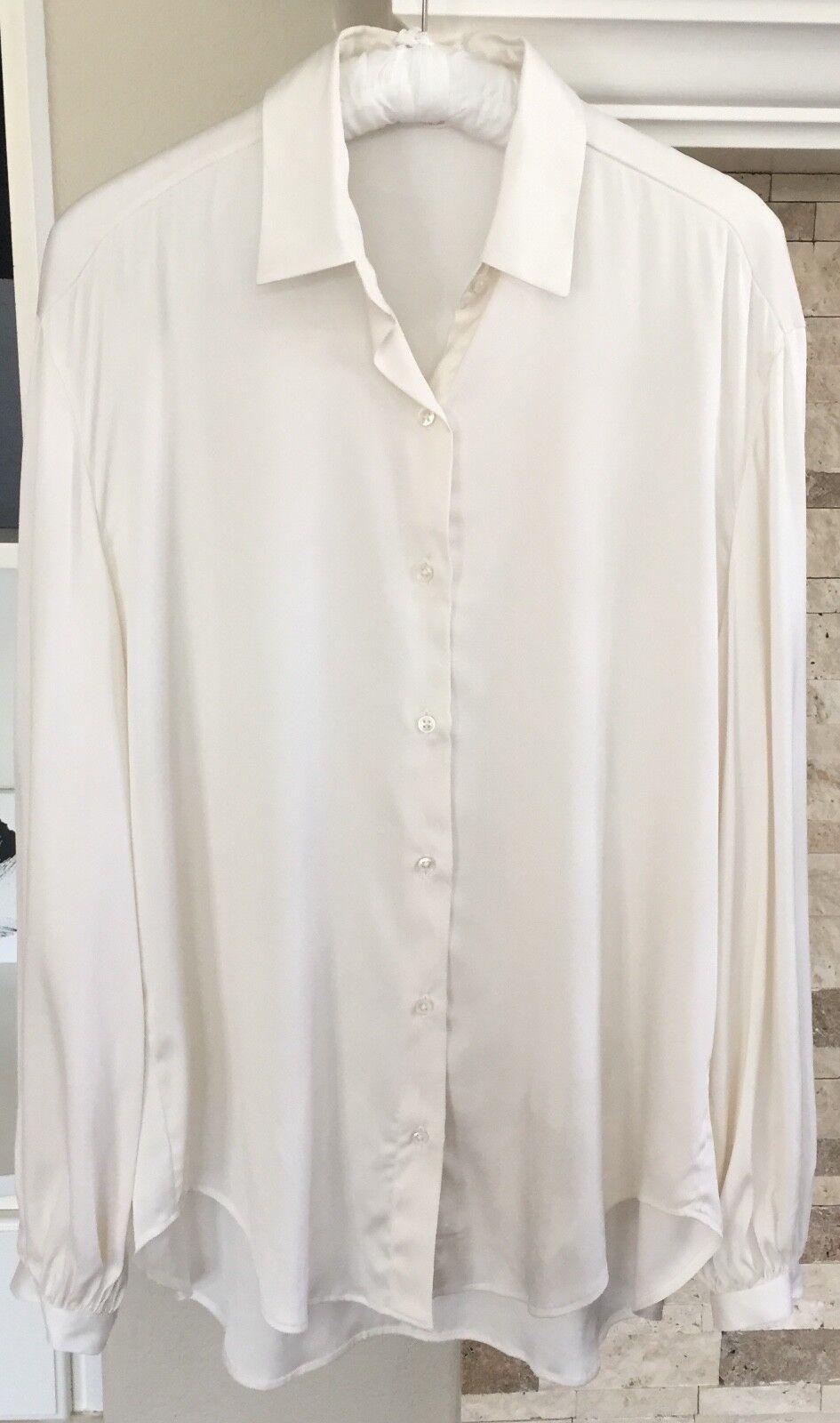 Lorenzini Woherren Ivory Long Sleeve Silk Blouse US Größe Large