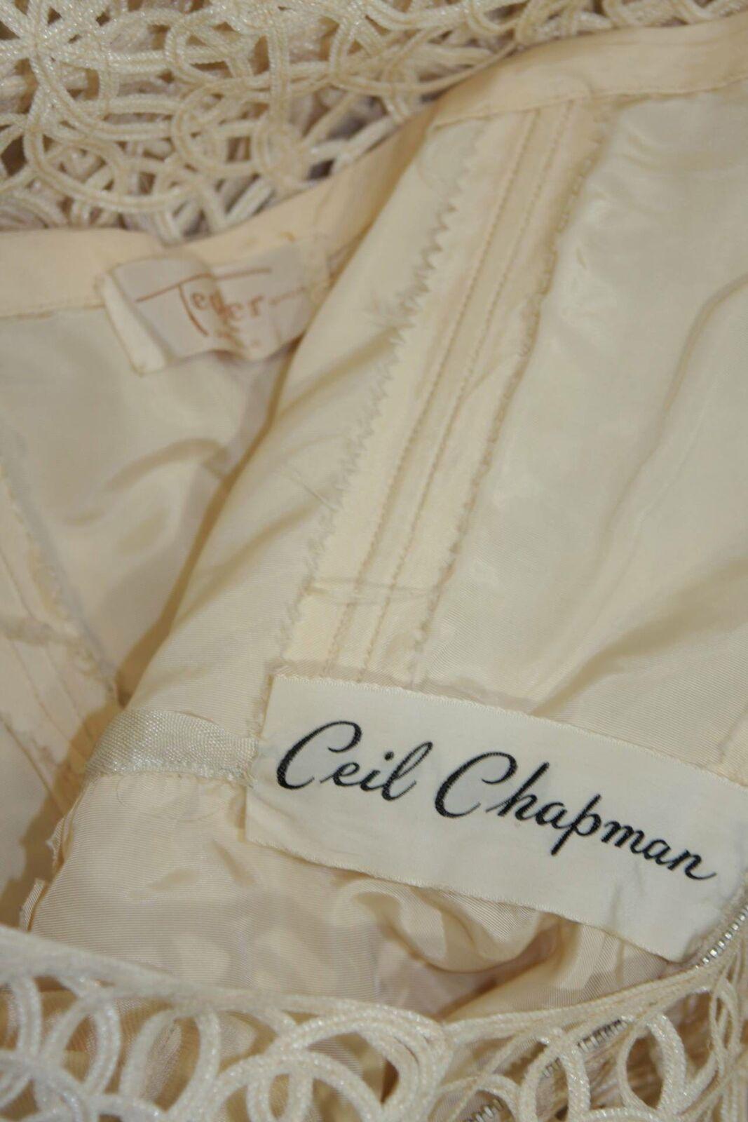 CEIL CHAPMAN Cream Lattice Work Lace Cocktail Dre… - image 9