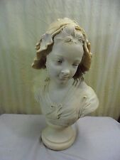 Antique Signed Grinam Niam Paris French Girl Bust Resin Stone Carving Sculpture