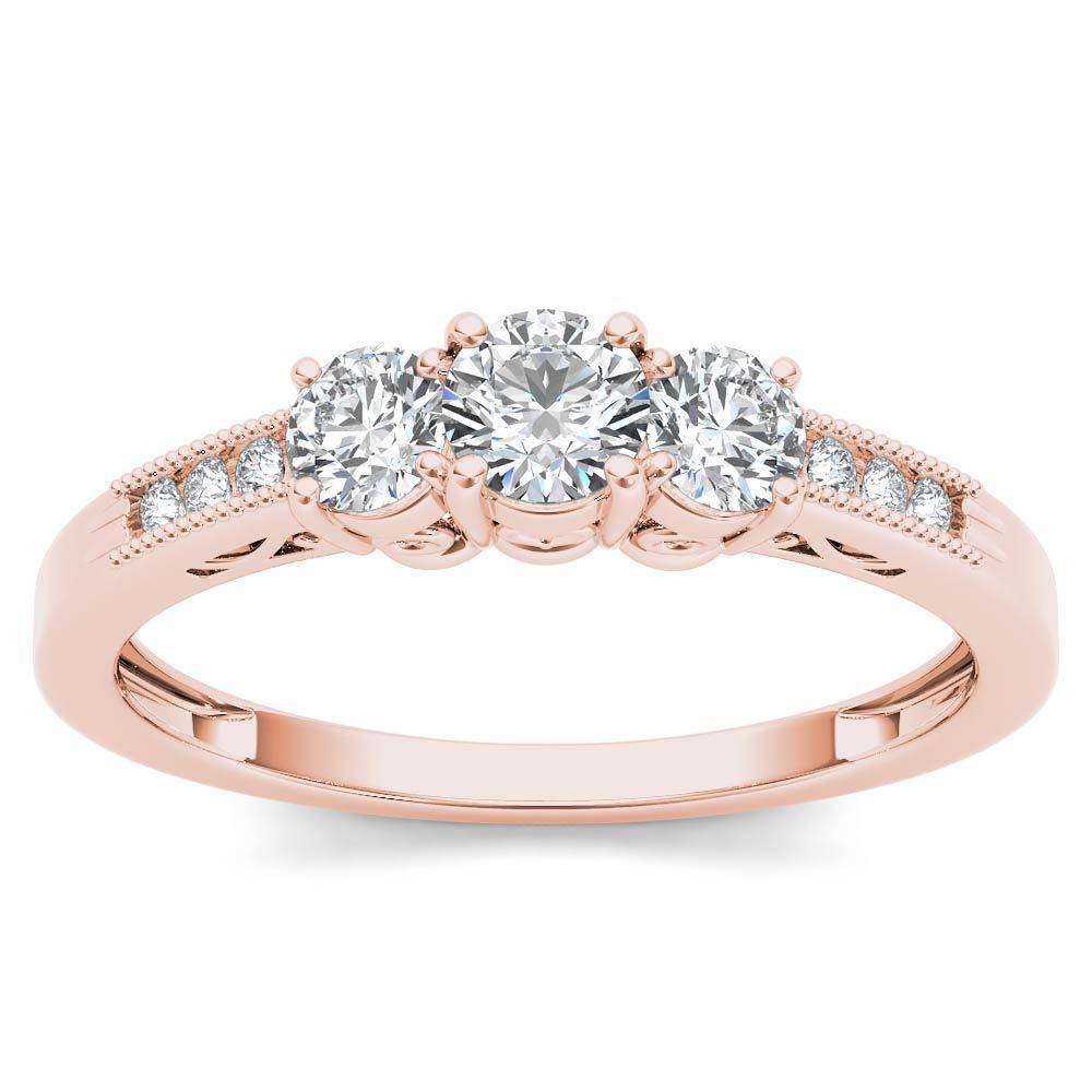 IGI Certified 14k pink gold 0.50Ct Natural Three Stone Diamond Engagement Ring