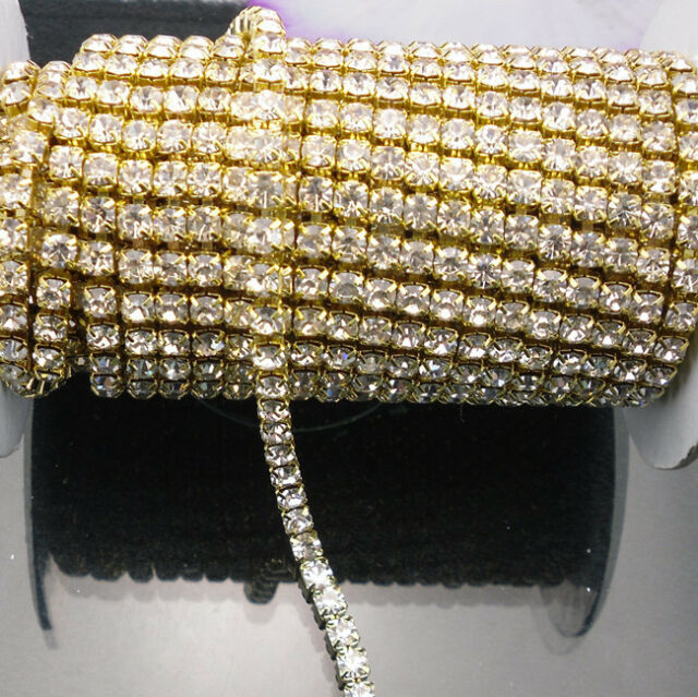 Clear crystal glass rhinestones compact close golden cup trims Applique chain