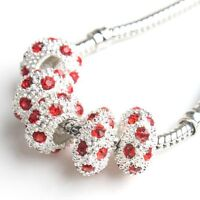 15pcs 151895 New Charms Red Rhinestones Silvery Oblate Alloy Beads Fit Bracelets