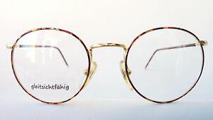 Brille-Brillenfassung-Pantoform-havanna-braun-Metall-abgerundet-46-18-Groesse-S