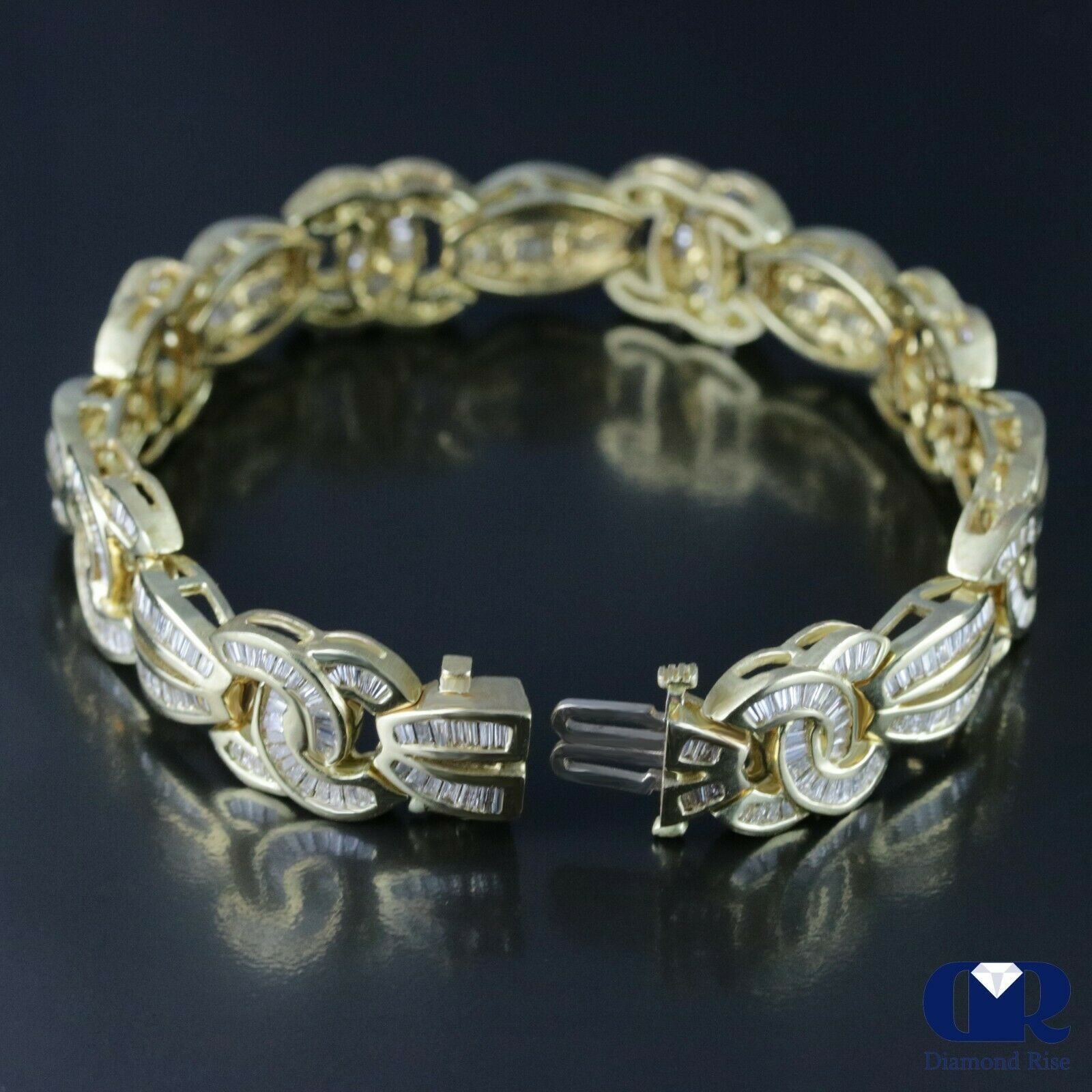 Details About 5 80 Carat Baguette Diamond Bracelet In 14k Yellow Gold