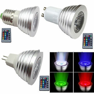 mr16 gu10 e27 rgb led bulbs color changing spot down light ceiling lamp ir t1 ebay. Black Bedroom Furniture Sets. Home Design Ideas