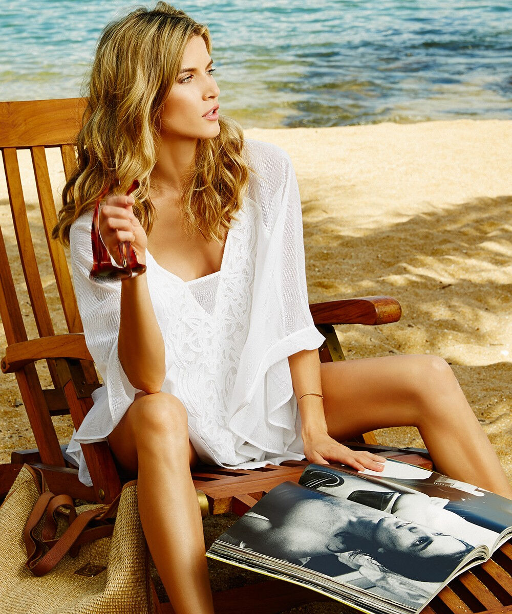 186 Vix Paula Hermanny Solid Sami White Caftan Dress Tunic Swim Cover Up L