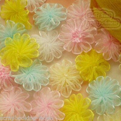 10 Stück Blüten 2,5 cm Organza Applikationen gemischt