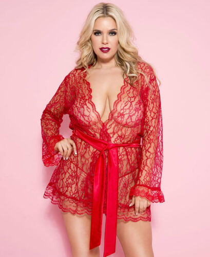 New Music Legs 60082Q Plus Size Floral Lace Robe With Scalloped Trim And Belt
