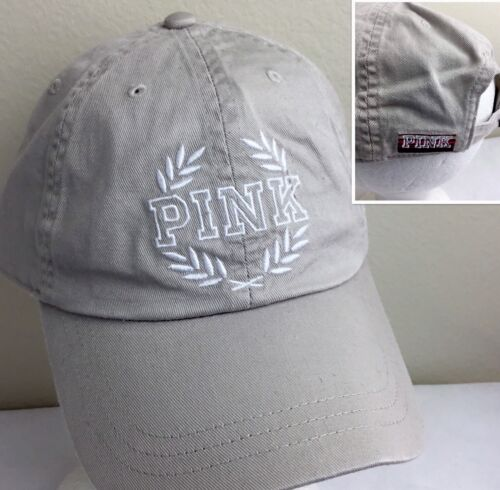Victoria/'s Secret Baseball Cap Hat Campus Embroidered PINK Cotton Beige O//S NWT