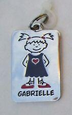 Gabrielle NAME CHARM dog tag pendant zipper pull key chain flair ganz