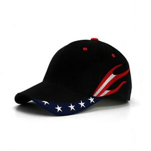 Black-American-US-Flag-Flames-Stream-USA-Patriotic-Stars-Baseball-Ball-Cap-Hat