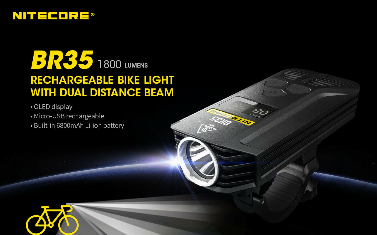 Nitecore Br35 1800 Luuomini Riautoicabile USB Due Distanza a Fagiolo Bicicletta