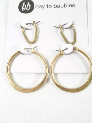 Bay to Bauble Womens  Brushed Gold Double Hoop earrings Set NWT 65
