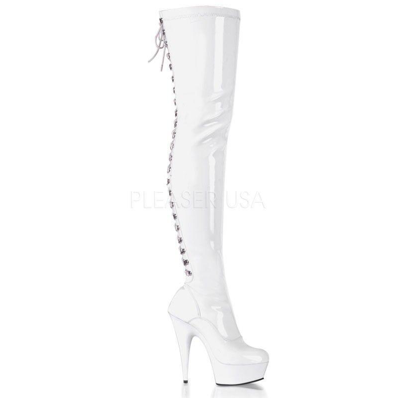 alta quaità Pleaser 6  bianca Patent Stiletto Corset Thigh High stivali stivali stivali Gothic Fetish Club 6-14  alla moda