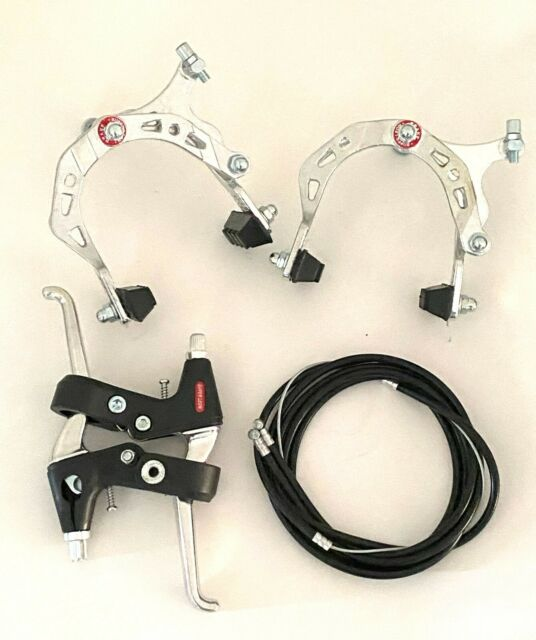 SILVER BMX MX Front and Rear Bike Bicycle Brake Kit Caliper Brake w// Lever.