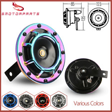 Set 2 Neo Chrome Super Loud Blast Tone Grill Mount Compact Electric Car Horn 12v