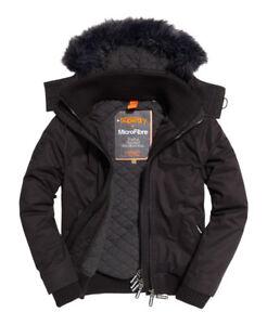 Mens Superdry Microfibre Fur Hooded Sd-windbomber Jacket Black L