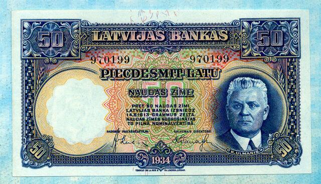 LATVIA 50 Latu 1934 P20a UNC