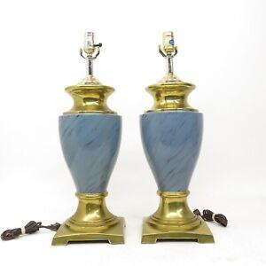 Vintage-Pair-Hollywood-Regency-Footed-Brass-amp-Blue-Trophy-Urn-Table-Lamps