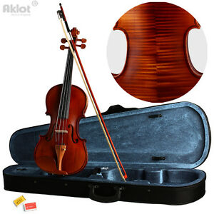 Violin 4/4 Full Size Fiddle Antique Natural Acoustic Solid Wood With Case Bow