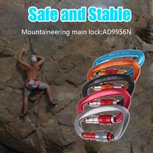 Aluminum Carabiner D Shaped Safety Buckle Screw Lock Rock Climbing Hook Pin 25KN