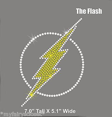 "7/"" tall THE FLASH iron on rhinestone transfer applique bling patch superhero"