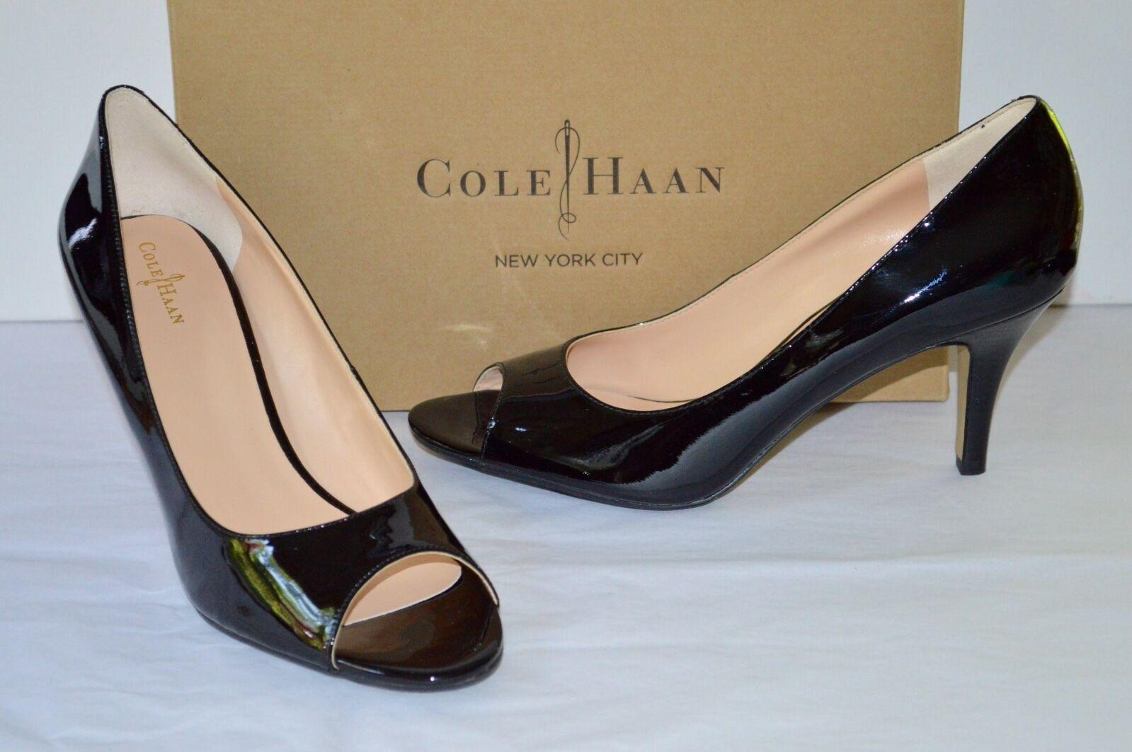 New  148 Cole Haan NikeAir Lainey OT Pump Black Patent Leather Peep Toe sz 10