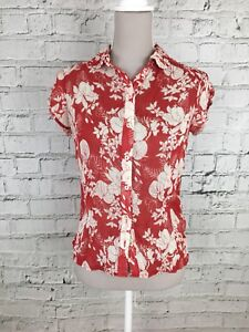 GEORGE-Red-Cream-Floral-Print-Blouse-Short-Sleeve-Womens-Size-6-Petite