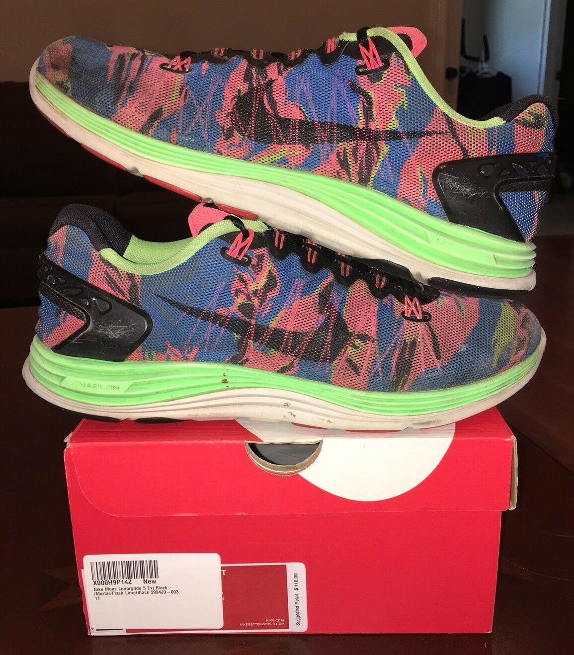 Nike 5 Lunarglide Multicolor Rainbow Floral Air Zoom Free Freerun Roshe 1 2 3 V