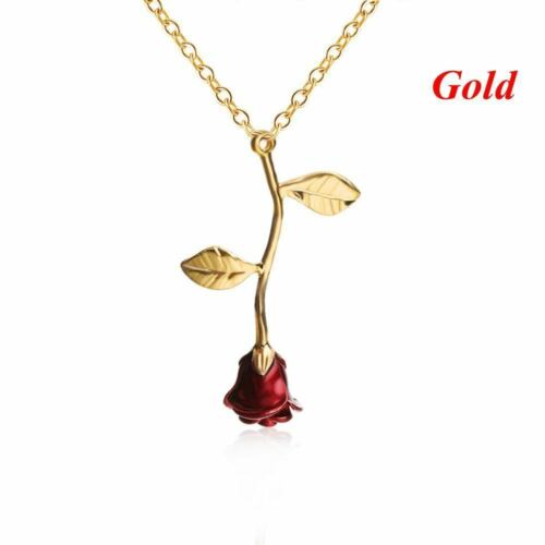 """RED ROSE GOLD FLOWER pendant 18/"""" necklace MOTHER MOM women VALENTINE FREE box"""