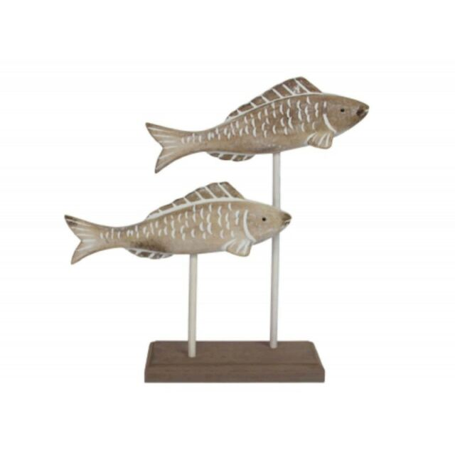 Nautical Lime Wash Wooden Fish Duo on Plinth Ornament / Decoration * Bathroom