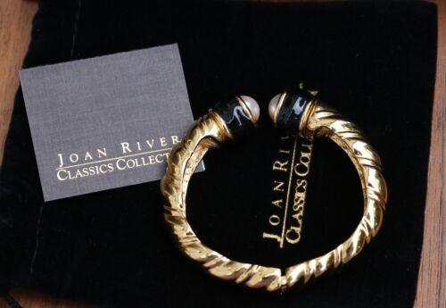 Vintage Joan Rivers Faux Pearl Black Enamel Gold-t