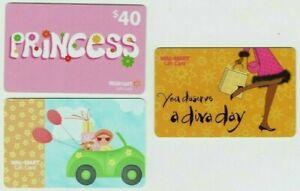 Walmart-Gift-Card-LOT-of-3-Older-Styles-Dog-in-Car-Princess-Diva-No-Value