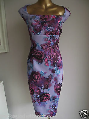 MONSOON PURPLE ROSE FLORAL SHIFT WIGGLE STRETCH DRESS SUMMER WEDDING 18 £99