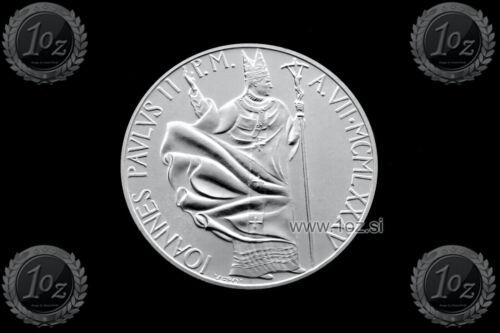 KM# 191 coin JOHN PAUL II in wind SILVER Commem UNC VATICAN 1000 LIRE 1985