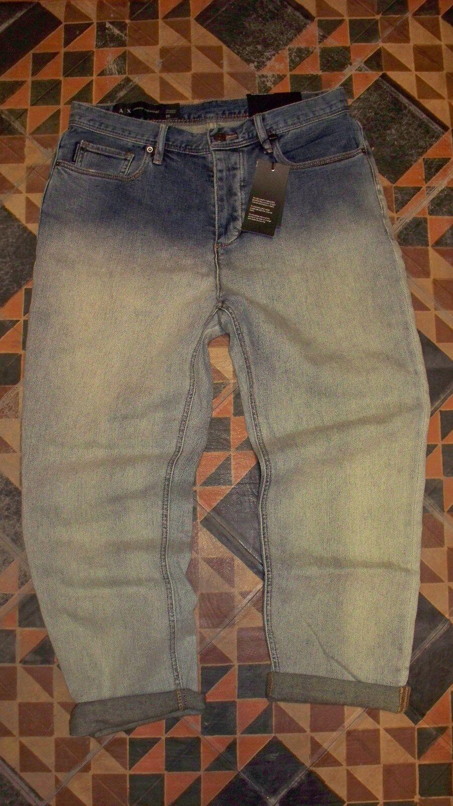 WOW Women's Faded Denim Jeans ARMANI A X EXCHANGE Boyfriend 31 Cropped  NWT