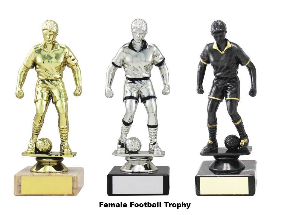10 x Female Football Trophy,Marble Base,160mm,3 Colours,Free Engraving (1365)mup