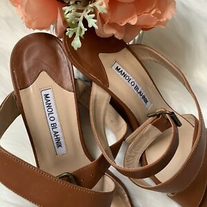 586666174fc Image is loading Manolo-Blahnik-camel-colored-wedges-size-37