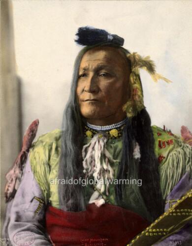 Native American Blackfeet Indian Chief Mountain 1890s Photo