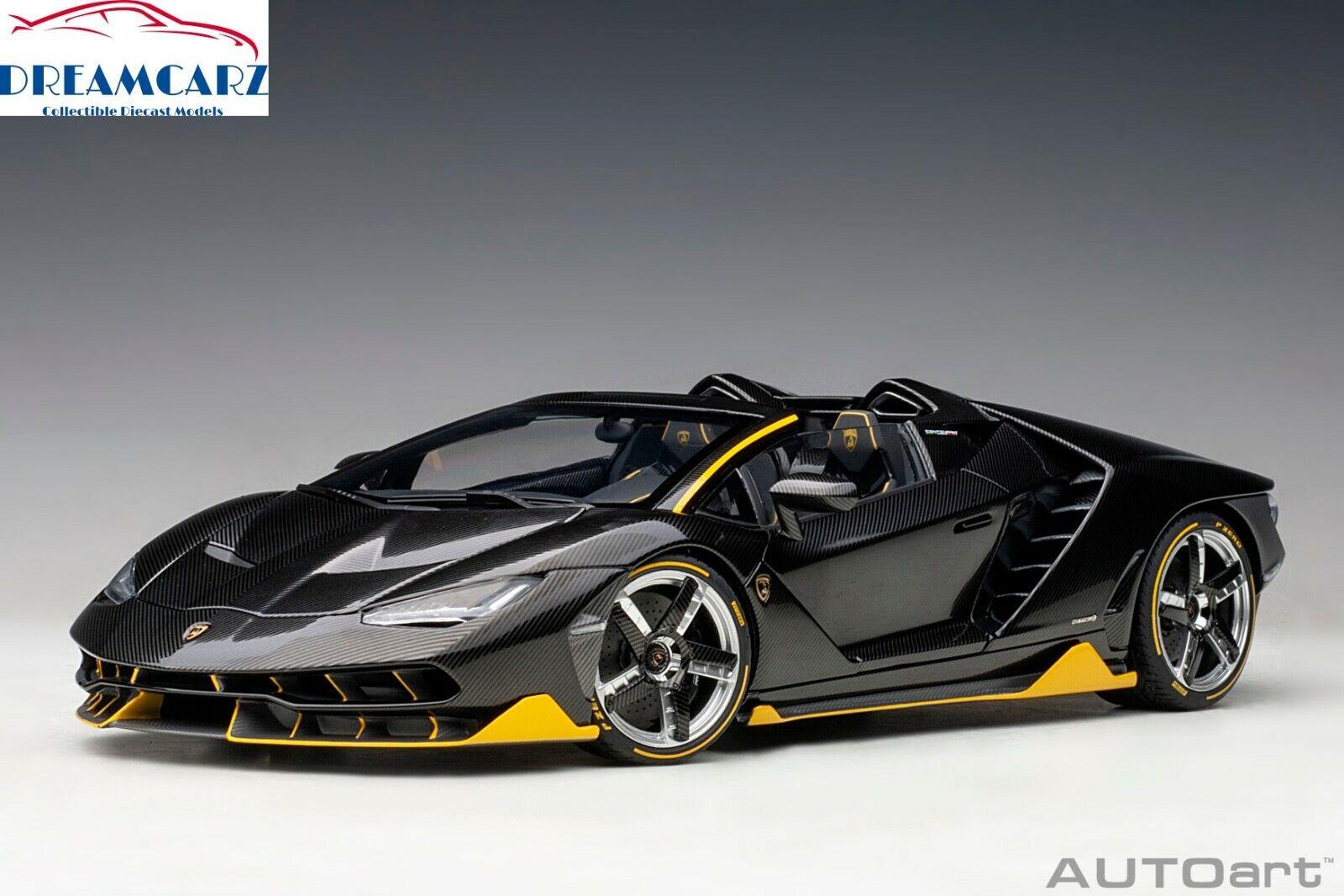 AUTOart 79119 1 18 Lamborghini Centenario Roadster - Clear Carbon Gelb Accents