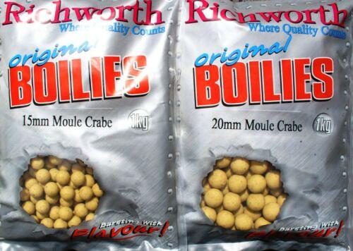 Ready Mades 20 mm Richworth 1kg Fisch-Boilie 5kg Moule Crabe Boilies 15