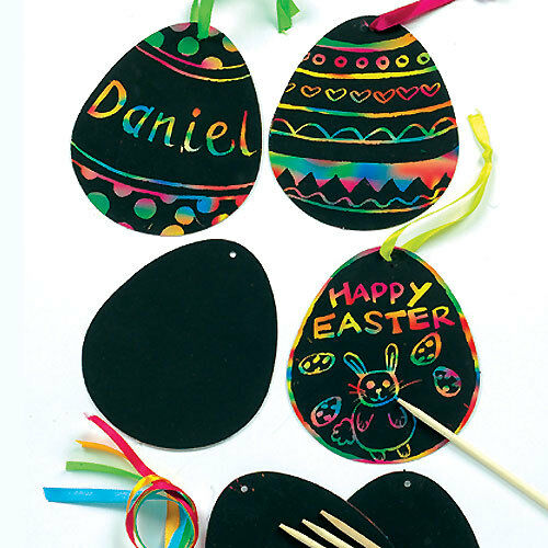 8 MIX EASTER EGG /& CHICK Scratch Art Decorations Magnets Kids Craft