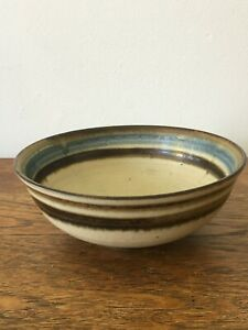 Vtg-Bernard-Forrester-Stoneware-Bowl-c-1970-Painted-Potters-Mark-Handmade-Studio
