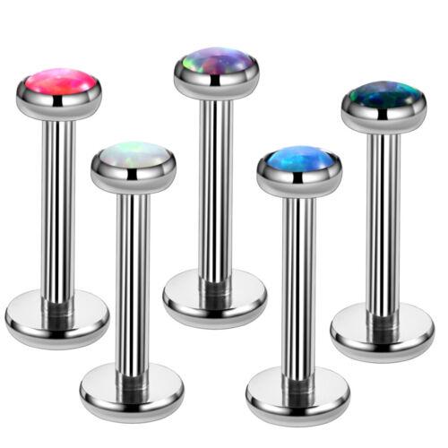 G23 Titanium Fire Opal Lip Ring Labret Stud Helix Earring Body Piercing Jewelry