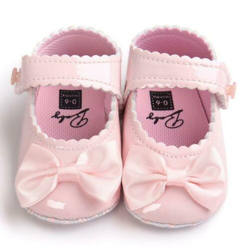 Baby Girl Bow Anti-slip Leather Christening Pram Shoes Soft Sole Sneaker Tc