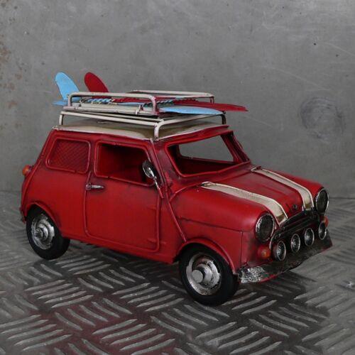 Blechmodell Mini Cooper rot mit Dachgepäckträger geheime Spardose Bilderrahmen