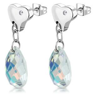 Stainless-Steel-Teardrop-Love-Heart-Long-Drop-Stud-Earrings-w-AB-Crystal-Beads