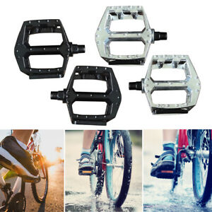 "1* Silver B087 Alloy Pedals Flat Platform Road BMX//Mountain Bike Pedals 9//16/"""