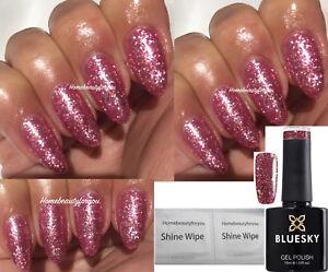 BLUESKY-GEL-POLISH-PINK-GLITTER-SPARKLE-VIP23-UV-LED-SOAK-OFF-ANY-2-FILE-WIPES