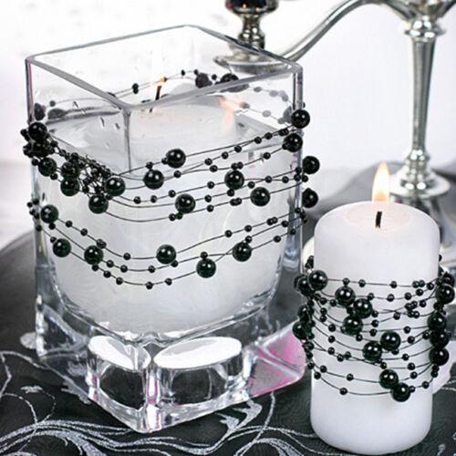 Dekoband Perlengirlande 5 Stück 1,3 m Schwarz Perlen Band Brautstrauß Hochzeit